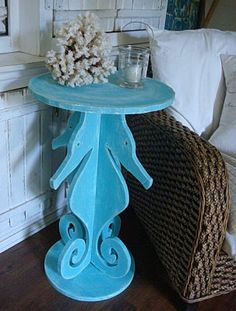 Seahorse Side Table Night Table Beach House Decor   Assemble Yourself