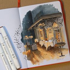 One of my favorite exercies at the Arts University was doing tiny paint sketches. I loved my painting sketchbook and even though paint wasn't ever my medium of choice (I might be terrible at it!), it really helped me get better at illustrating! Copic Marker Art, Copic Art, Copic Markers, Art Sketches, Art Drawings, Sketch Drawing, Arte Sketchbook, Travel Sketchbook, Sketchbook Inspiration