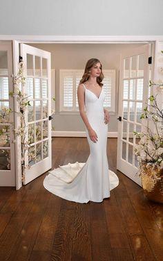 SIMPLE V-NECKLINE FIT-AND-FLARE WEDDING DRESS WITH SHEER BACK Essense Of Australia Wedding Dresses, Bridal Elegance, Wear Store, Bridal And Formal, European Fashion, Formal Wear, Wedding Bells, Fit And Flare, Bridal Gowns