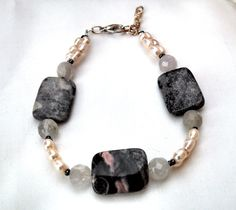 Amethyst pearl and porcelain jasper bracelet by InsomniacTreasures, $28.00