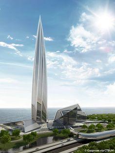 Lakhta Center - The Skyscraper Center Futuristic Architecture, Sustainable Architecture, Contemporary Architecture, Architecture Design, Amazing Buildings, Modern Buildings, Future Buildings, Natural Structures, Futuristic City