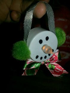 Snowman ornament made with a battery operated tea light. by concetta Snowman Ornaments, Diy Christmas Ornaments, How To Make Ornaments, Snowman Crafts, Winter Christmas, Christmas Holidays, Christmas Decorations, Snowmen, Christmas Snowman