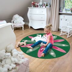 Arte Espina Kids Rugs 4184 62 Contemporary Rugs, Modern Rugs, Circular Rugs, Modern Floral Design, Childrens Rugs, Green Rooms, Oriental Design, Creative Play, Free Uk