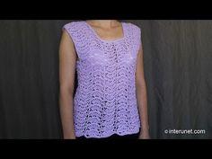 ▶ Japanese fan stitch women's top crochet pattern - crochet short sleeve lace sweater - YouTube