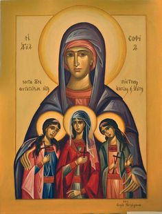 St. Sophia with her daughters: St. Faith, St. Hope & St. Love by Antonia Vartimiadis