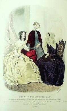 GRAVURE de MODE AUTHENTIQUE-F176-MAGASIN DEMOISELLES-ROBES DE VELOURS-1849
