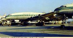 Frota de aviões da companhia Panair do Brasil, nos anos 50, no aeroporto do…