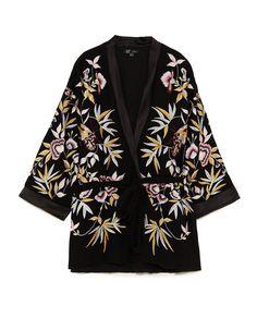 8df82d1d9000 BLSQR Women Vintage Floral Embroidery Kimono Coat V neck Bow Tie Belt  Design Female Casual Chic Loose Outerwear Tops