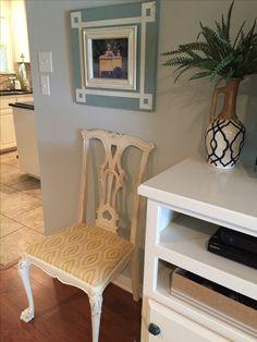 Custom frames, repurposed chair, Annie Sloan Old White, Gray Owl paint