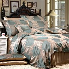 Luxurious Bedding Ensemble...out of stock but also waaaaay out of price range.  SO GORGEOUS!!