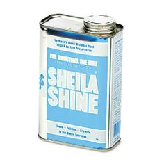 Sheila Shine Stainless Steel Cleaner And Polish, 1 Quart Can by Sheila Shine. Save 2 Off!. $15.55. Sold as 1 EA. Manufactured by: Sheila Shine. Removes greasy film and water marks. Resists fingerprints and streaking. Repels water; preserves surface against deterioration. Requires no rubbing or polishing. Also works on Formica, porcelain, fiberglass, enamel and plastic. Application: Appliances; Fixtures; Applicable Material: Fiberglass;Leather;Plastic;Stainless Steel;Enamel;Formica...