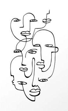 Art Abstrait Ligne, Art Du Croquis, Art Visage, Face Line Drawing, Face Aesthetic, Abstract Face Art, Outline Art, Art Drawings Sketches, Doodle Art