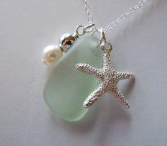 Sea Foam  Sea Glass Starfish Necklace Beach by BeachGlassMemories, $26.98
