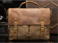 740179700adc Vintage Style Canvas Leather Flap-over Messenger Bag Brass Buckle