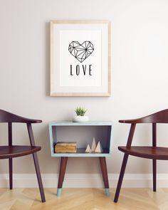 Geometric Heart Printable Poster (Black and White) by BlissandLoveDesign on Etsy  #digitalprint #Etsy #homedecor #printableposter #printablequotes #quotes #love #geometricheart #blackandwhite