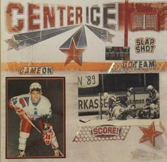 hockey page - Scrapbook.com  This sports layout was made with products from Paper House Productions.