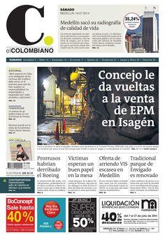 Portada de El Colombiano de el 19 de julio de 2014.