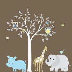Jungle Safari Tree Elephant Giraffe Vinyl Wall by wallartdesign, $150.00
