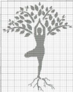 Woman and tree x-stitch Cross Stitch Pillow, Cross Stitch Tree, Cross Stitch Baby, Cross Stitch Charts, Cross Stitch Designs, Cross Stitch Patterns, Knitting Patterns, Crochet Patterns, Cross Stitching