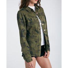 Camo Print Anorak Jacket ❤ liked on Polyvore featuring outerwear, jackets, camo print jacket, pattern jacket, light weight jacket, anorak coat and drawstring jacket