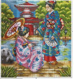 0 point de croix 2 femmes japonaises au bord de l'eau - cross stitch japanese ladies next to the river part 2