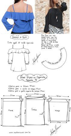 DIY – molde, corte e costura – Marlene Mukai. Blusa Gipsy ou Ciganinha.