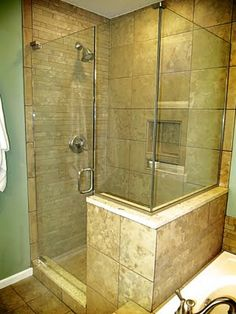 Seamless glass shower with glossy white beveled subway tiles shower ...
