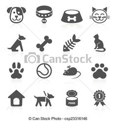 Vector - Trendy pet icons isolated on white. Vector - stock illustration, royalty free illustrations, stock clip art icon, stock clipart icons, logo, line art, EPS picture, pictures, graphic, graphics, drawing, drawings, vector image, artwork, EPS vector art