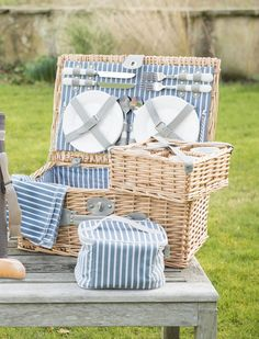 "4 Person Luxury Wicker Picnic Basket £69.99  Whether you are rocking out at a festival, or relaxing in a scenic spot, this picnic set is an ideal way to transport your picnic accessories. Includes plates, cutlery, wine glasses, napkins, removable cooler bag to keep your food cool. If you enjoy picnics or sleeping under canvass, this is ideal. W18"" x H12"" x D8"". Wicker Picnic Basket, Picnic Set, Cutlery, Napkins, Plates, Wine, Cool Stuff, Luxury, Bag"