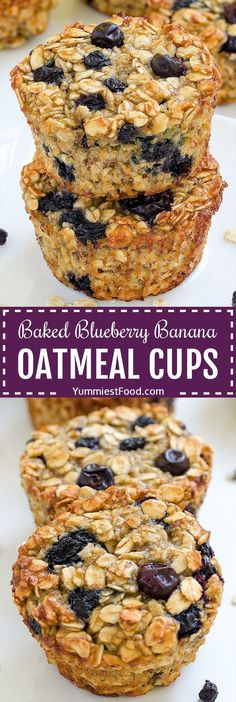Quick and easy baked blueberry banana oatmeal cups are the perfect . - Quick and easy baked blueberry banana oatmeal cups are the perfect breakfast for busy mornings. Oatmeal Blueberry Muffins Healthy, Blue Berry Muffins, Blueberry Recipes Low Sugar, Blueberry Breakfast Recipes, Recipes With Blueberries, Blueberries Muffins, Healthy Muffins, Breakfast For Dinner, Best Breakfast
