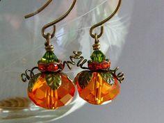 Pumpkin Earrings Orange Crystal Beaded by pinkingedgedesigns
