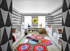 Kelly Behun; Elle Decor Magazine Nov 2015 Just love this room! Cool kids room!