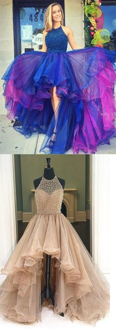 Backless Prom Dresses,Prom Dresses 2017,Sparkly Gorgeous Halter Beaded Long Prom Dresses For Teens,Modest Prom Dress,Charming Evening Dresses,Tulle Party Dresses