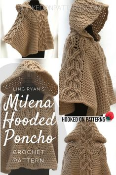 Hooded Poncho Crochet Pattern - Milena - Hooked On Patterns Poncho Crochet Pattern - Milena Hooded Poncho Pattern. Crochet this iconic twisted cable poncho. Crochet Hood, Crochet Poncho Patterns, Crochet Shawl, Crochet Yarn, Knitting Patterns, Poncho Pattern Sewing, Crochet Woman, Love Crochet, Hooded Poncho Pattern