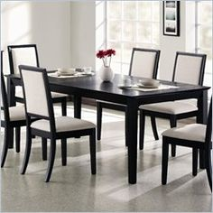 Coaster Lexton Rectangular Dining Table with 18 Inch Leaf in Black 30x60x40
