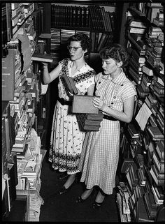 """Library confusion, 23/12/1952, by Sam Hood,"" by State Library of New South Wales, via Flickr -- Not just ""library"" confusion, either ... I had to pin this photo, as given a slightly different hairstyle, the woman on the left honestly could have been my mother in that same time period. (I'd be seriously suspicious if I didn't know that she's never been to Australia...!)"