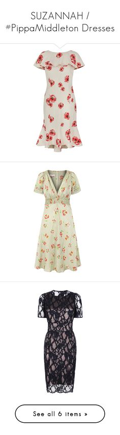 """""""SUZANNAH / #PippaMiddleton Dresses"""" by presidente1 ❤ liked on Polyvore featuring dresses, silk shift dress, white dress, ivory silk dress, pink day dress, tailored dresses, white dresses, tea party dresses, print dresses and mint green dress"""
