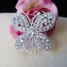 Gorgeous Charm Silver Crystal Butterfly Wedding Hair Comb