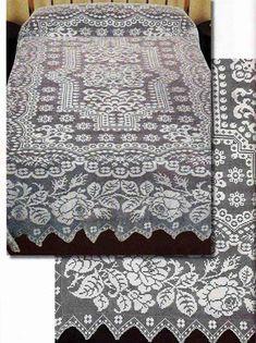 Покрывало выполнено в технике филейного вязания с использованием сложного орнамента. Схемы вязания крючком прилагаются.…