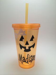 Pumpkin Tumbler, Halloween tumbler, Pumpkin Halloween Cup by PrettyLittleVinyls on Etsy