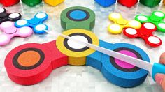 Learn Colors Kinetic Sand Rainbow Fidget Spinner Surprise Toys DIY How t...