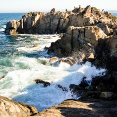 Lover's Point on the Monterey Peninsula, California - Many visitors climb the rocks at the point for which it is named in order to get a spectacular view of Monterey Bay. Forgot to pack your picnic? You can buy snacks at the on-site snack bar. Be sure to stop by at the end of July to experience Pacific Grove's annual tradition, the Feast of Lanterns.