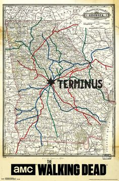 TV fans will love this map showing the city of Terminus from the program, The Walking Dead.
