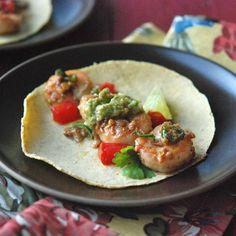 Shrimp with Green Chiles and Avocado-Tomatillo Sauce