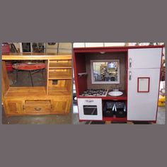 Entertainment center turned play kitchen.  Children's playroom idea.  Upcycle old furniture.
