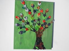 Quilled abstract tree on painted stretched canvas Mixed media original art via Etsy