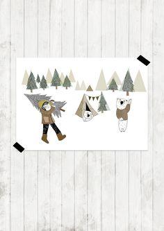 """Poster bos """"Invierno en el bosque""""   Amayadeeme"""