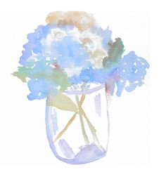 Hydrangea watercolor illustration by DeliaSopcaArt on Etsy