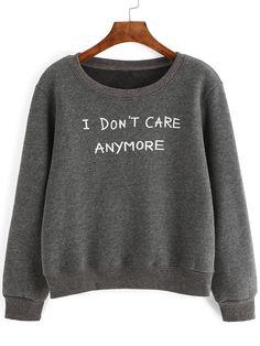 Shop Grey Letter Print Sweatshirt online. SheIn offers Grey Letter Print Sweatshirt & more to fit your fashionable needs.