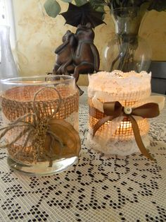 Burlap & Lace Wedding Candles Pillar by WillowTreasures on Etsy